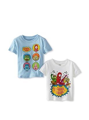Freeze Boy's Yo Gabba Gabba 2 Pack T-Shirt Bundle (White/Light Blue)