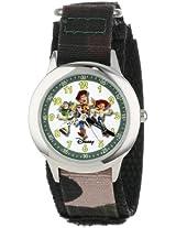 """Disney Kids' W000065 Toy Story 3 """"Buzz Lightyear, Woody & Jessie"""" Stainless Steel Time Teacher Watch"""