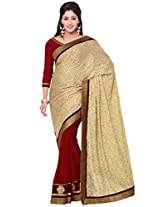 Indian Women Fashions contrast maroon and beige contrast brasso and georgette Half-half saree