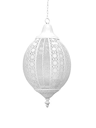 Three Hands Hanging Metal Lantern, White