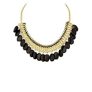 Voylla Golden Fashion Embellished With Dangling Black Beads Necklace for Women