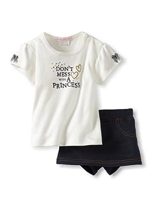 Mish Mish Baby Tee & Jeans Skirt (Denim Flower)