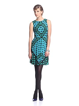 Donna Morgan Women's Printed Fit-and-Flare Dress (Blue/Green Multi)