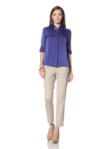 Anne Klein Collection Women's Roll-Tab Sleeve Camp Shirt (Ocean)