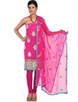 Pink Art Georgette Embroidery Suit Dupatta Unstitched