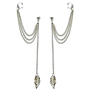 Via Mazzini Silver Lining Metal Ear Cuff Earring for Women