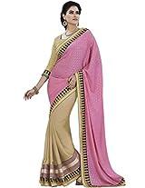 DesiButik's Alluring Pink Jacquard Saree