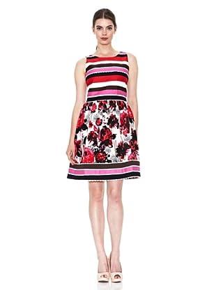 Niza Moda Vestido Rayas y Flores (Rosa)