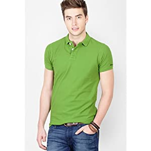 Basics Casual Plain Green 100% Cotton Muscle T.Shirt 13BCTS29491