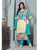 Viva N Diva Off White And Sky Blue Color Georgette Salwar Suit - 1010