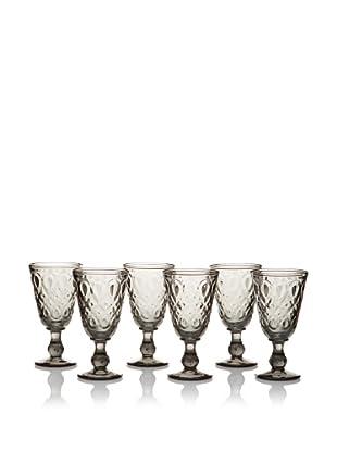 La Rochère Set of 6 Lyonnais Décor 8-Oz. Wine Glasses, Charcoal