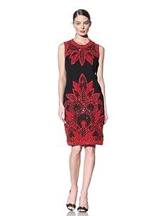 Naeem Khan Women's Sleeveless Embroidered Dress (Black/Red)