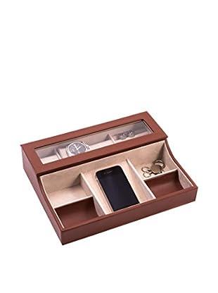 Bey-Berk 3-Watch Brown Leather Valet Box
