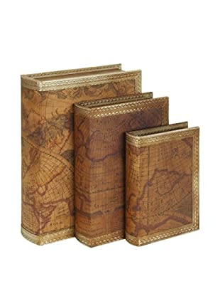 Set of 3 World Map Faux Leather Book Boxes