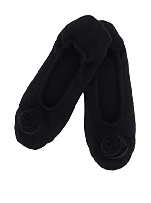 a&R Cashmere Slippers with Flower (Black)
