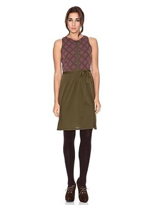 SIYU Vestido Knit Rombos Combinado (Verde/Morado)