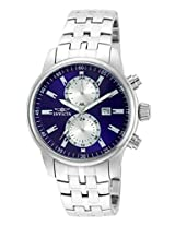 Invicta Men's Quartz Watch with Blue Dial Chronograph Display and Silver Stainless Steel Bracelet 21557