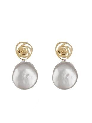 Silver One Pendientes Roseta Perla Dorado