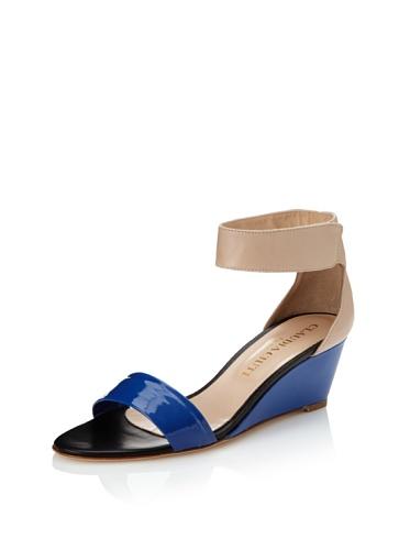 Claudia Ciuti Women's Petra Mini Wedge Sandal (Royal Blue/Nude)