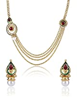 Latest Bollywood Designer Gold Plated 4-Strings Long Necklace Earring Set by Shining Diva