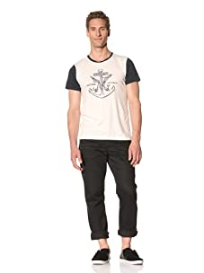 Tee Library Men's Obsession with Revenge Crew Neck T-Shirt (White/navy)