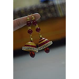 Quillings by SSE - Royal Red And Gold Jumka Earring