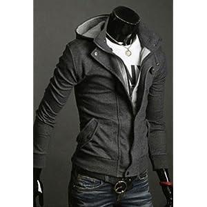 Slim Top Men's Hoodie Jacket - Black & Grey