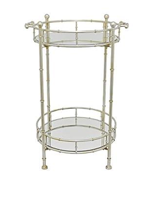 Three Hands 2-Tier Mirror Table, Silver