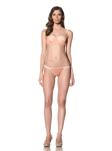 Mimi Holliday Women's Meringue Hipster Thong (Peach/Leopard)