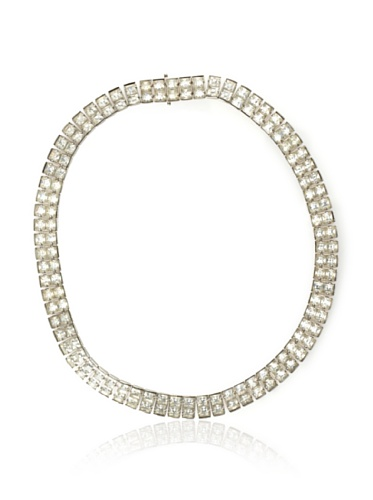 Lulu Frost 1920's Art Deco Double Strand Necklace, Antique Silver