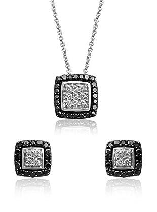 Jewelili Conjunto de collar y pendientes plata de ley 925 milésimas