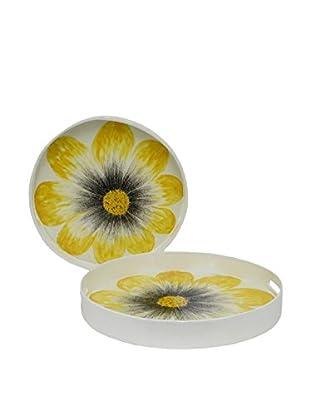 Three Hands Set of 2 Round Flower Trays, White/Yellow