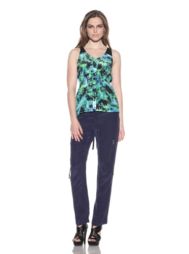 under.ligne by Doo.Ri Women's Printed Button Down Tank (Lime Wash)