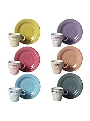 Brunch Time Kaffeetasse mit Untertasse 6 tlg. Set Vintage mehrfarbig