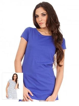 Cortefiel T-Shirt 2er-Set (Blau/Weiß)