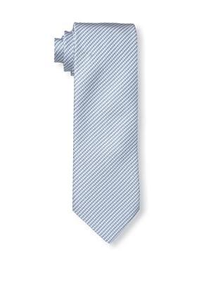 Rossovivo Men's Pied de Poule Tie, Light Blue/White