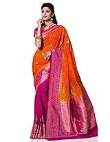 Meghdoot Women's Traditional Kanchipuram Spun Silk Saree Orange and Rani Colour Sari