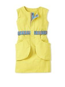 kicokids Girl's Peek-a-Boo Back Shift Dress with Tool Belt Pockets (Citrus)