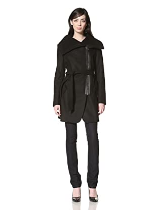 Via Spiga Women's Padova Melton Belted Jacket (Black)