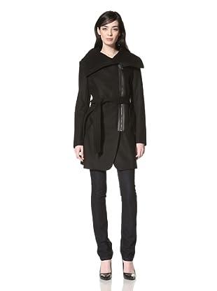 Via Spiga Women's Padova Melton Belted Jacket (Black)