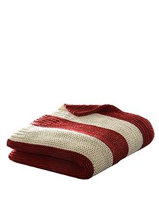 Eddie Bauer Stripe Knit Throw, Oyster/Red