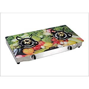Surya Flame Glaze vegetable 2 Burner Glass Top Gas Stove, multicolor