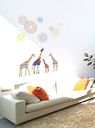Ambiance Live Wandtattoo Giraffes and stars mehrfarbig