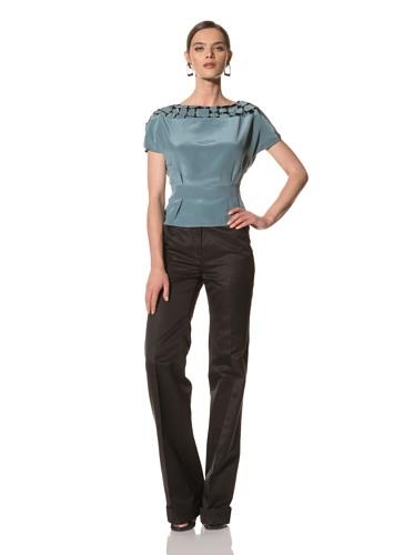 Bibhu Mohapatra Women's Laser Cut Short Sleeve Blouse (Azure)
