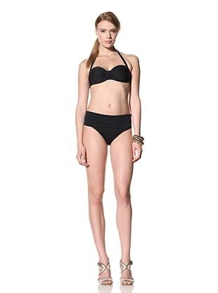 diNeila Women's Halter Neck Bikini With Brief Bottoms (Black)