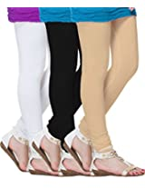 MSS Wings Women's Leggings (Pack Of 3) (whi-peach-combo3_Multicolor_XX-Large)