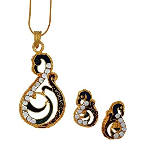 Spargz Peacock Designer Fashion Pendant Earring Set AIPS 021 [Jewellery]