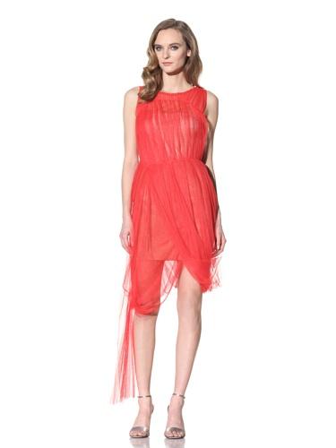 Vera Wang Women's Tulle Overlaid Bustier Dress (Poppy)