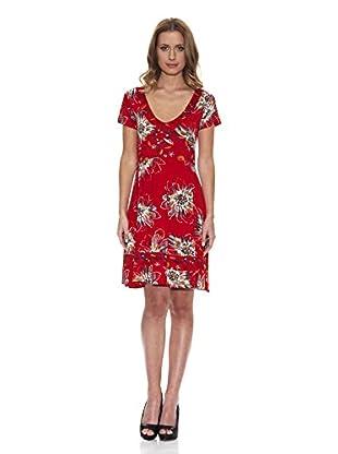 Peace & Love Kleid gemustert (rot)