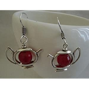 The Desi Soul German Silver Teapot With Maroon Agates Earring